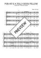 Téléchargez la partition de For he's a jolly good fellow en PDF pour 4 voix SATB et piano