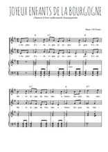 Téléchargez la partition de Joyeux enfants de la Bourgogne en PDF pour 2 voix égales et piano