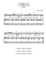 Téléchargez la partition de Kumbaya en PDF pour Chant et piano