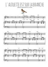 Téléchargez la partition de L'alouette est sur la branche en PDF pour Chant et piano