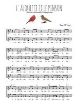 Téléchargez l'arrangement de la partition de Traditionnel-L-alouette-et-le-pinson en PDF à deux voix
