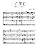 Téléchargez la partition de L'as-tu vu en PDF pour 2 voix égales et piano