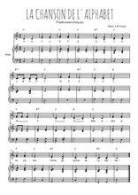 Téléchargez la partition de La chanson de l'alphabet en PDF pour 2 voix égales et piano