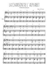 Téléchargez la partition de La chanson de l'alphabet en PDF pour Chant et piano