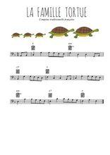 Téléchargez la partition de comptine-la-famille-tortue en clef de fa