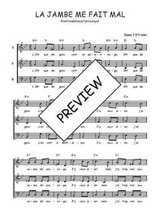 Téléchargez l'arrangement de la partition de Traditionnel-La-jambe-me-fait-mal en PDF à trois voix