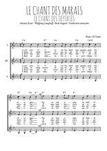 Téléchargez l'arrangement de la partition de chant-des-marais-chant-des-deportes en PDF pour trois voix de femmes