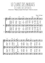 Téléchargez l'arrangement de la partition de chant-des-marais-chant-des-deportes en PDF pour trois voix d'hommes