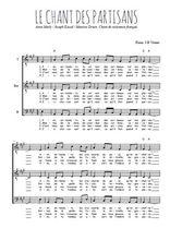Téléchargez l'arrangement de la partition de guerre-39-45-le-chant-des-partisans en PDF pour trois voix d'hommes