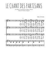 Téléchargez la partition de Le chant des partisans en PDF pour 4 voix SATB et piano