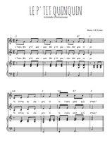 Téléchargez la partition de Le p'tit Quinquin en PDF pour 2 voix égales et piano