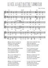 Téléchargez l'arrangement de la partition de Traditionnel-Le-roi-a-fait-battre-tambour en PDF à deux voix