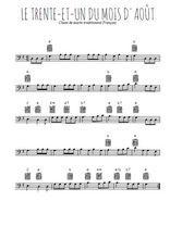 Téléchargez la partition de chant-de-marin-le-trente-et-un-du-mois-d-aout en clef de fa