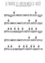 Téléchargez la partition pour saxophone en Mib de la musique chant-de-marin-le-trente-et-un-du-mois-d-aout en PDF