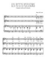 Téléchargez la partition de Les petits poissons en PDF pour 2 voix égales et piano
