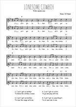 Téléchargez l'arrangement de la partition de Traditionnel-Lonesome-cowboy en PDF à deux voix