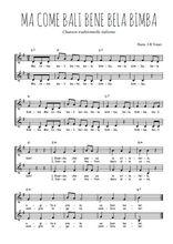 Téléchargez l'arrangement de la partition de Traditionnel-Ma-come-bali-bene-bela-bimba en PDF à deux voix