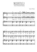 Téléchargez la partition de Malbrough en PDF pour 2 voix égales et piano