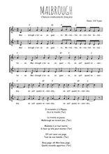 Téléchargez l'arrangement de la partition de malbrough en PDF à deux voix