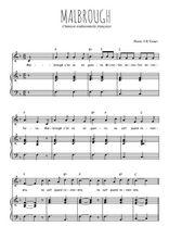 Téléchargez la partition de Malbrough en PDF pour Chant et piano