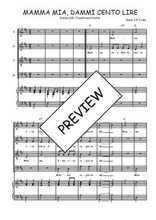 Téléchargez la partition de Mamma mia, dammi cento lire en PDF pour 4 voix SATB et piano