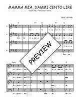 Téléchargez l'arrangement de la partition de Traditionnel-Mamma-mia-dammi-cento-lire en PDF à quatre voix