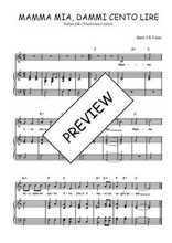 Téléchargez la partition de Mamma mia, dammi cento lire en PDF pour Chant et piano