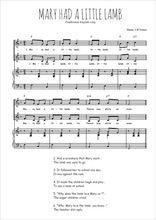 Téléchargez la partition de Mary had a little lamb en PDF pour 2 voix égales et piano