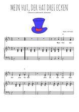 Téléchargez la partition de Mein Hut, der hat drei ecken en PDF pour 2 voix égales et piano