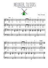 Téléchargez la partition de Meunier, tu dors en PDF pour 2 voix égales et piano