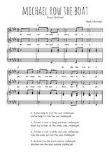 Téléchargez la partition de Michael row the boat en PDF pour 2 voix égales et piano