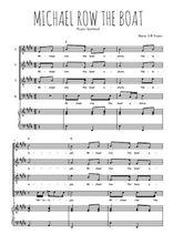 Téléchargez la partition de Michael row the boat en PDF pour 4 voix SATB et piano
