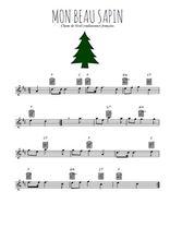 Téléchargez la partition pour saxophone en Mib de la musique noel-mon-beau-sapin en PDF