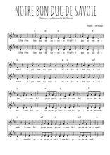 Téléchargez l'arrangement de la partition de Traditionnel-Notre-bon-duc-de-Savoie en PDF à deux voix