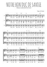 Téléchargez l'arrangement de la partition de Traditionnel-Notre-bon-duc-de-Savoie en PDF à trois voix