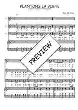 Téléchargez la partition de Plantons la vigne en PDF pour 3 voix SAB et piano