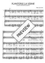 Téléchargez la partition de Plantons la vigne en PDF pour 4 voix SATB et piano