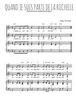 Téléchargez la partition de Quand je suis parti de La Rochelle en PDF pour 2 voix égales et piano