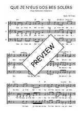 Téléchargez l'arrangement de la partition de Traditionnel-Que-je-n-eus-dos-bes-solers en PDF à trois voix