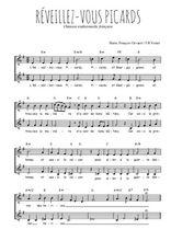 Téléchargez l'arrangement de la partition de chanson--a-boire-reveillez-vous-picards en PDF à deux voix