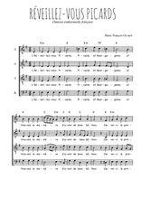 Téléchargez l'arrangement de la partition de chanson--a-boire-reveillez-vous-picards en PDF à quatre voix