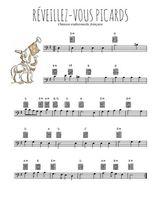 Téléchargez la partition de chanson--a-boire-reveillez-vous-picards en clef de fa