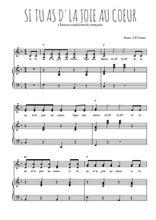 Téléchargez la partition de Si tu as d'la joie au coeur en PDF pour 2 voix égales et piano