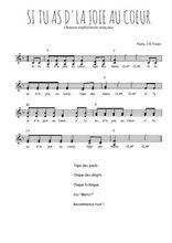 Téléchargez l'arrangement de la partition de Traditionnel-Si-tu-as-d-la-joie-au-coeur en PDF à deux voix