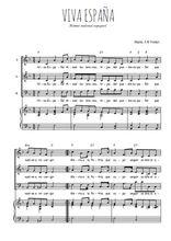 Téléchargez la partition de Viva España en PDF pour 3 voix SAB et piano