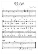 Téléchargez l'arrangement de la partition de Traditionnel-Steal-away en PDF à trois voix