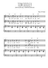 Téléchargez la partition de Tom Dooley en PDF pour 2 voix égales et piano