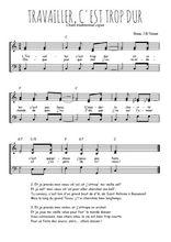 Téléchargez l'arrangement de la partition de Traditionnel-Travailler-c-est-trop-dur en PDF à trois voix