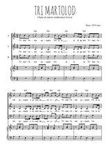 Téléchargez la partition de Tri martolod en PDF pour 3 voix SAB et piano