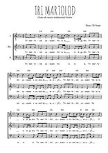 Téléchargez l'arrangement de la partition de chant-de-marin-tri-martolod en PDF pour trois voix d'hommes